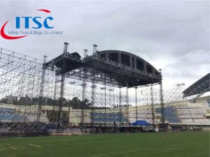 65 foot heavy duty curved roof stage trusses lighting rig