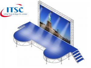 Custom Outdoor Concert Stage System with backdrops