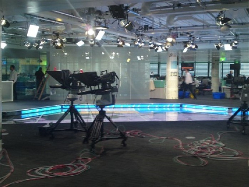 TV news studio spotlight truss stage equipment